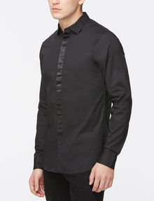 ARMANI EXCHANGE SLIM-FIT SATIN PLACKET SHIRT Long sleeve shirt Man d