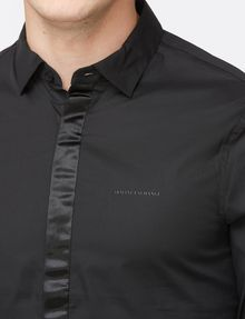ARMANI EXCHANGE SLIM-FIT SATIN PLACKET SHIRT Long sleeve shirt Man e