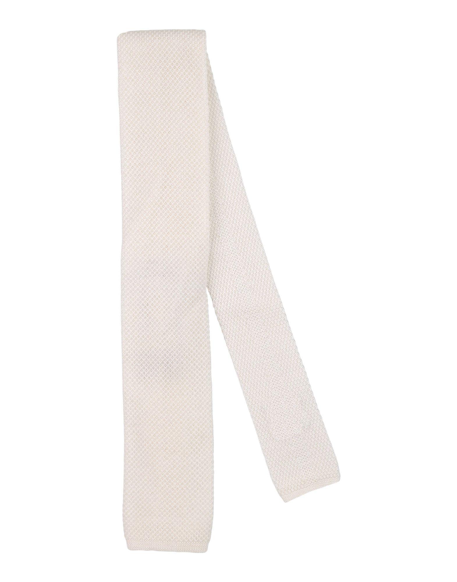 《送料無料》LES COPAINS メンズ ネクタイ ホワイト コットン 100%