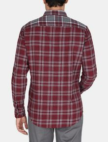 ARMANI EXCHANGE PIECED PLAID REGULAR-FIT SHIRT Long sleeve shirt Man r