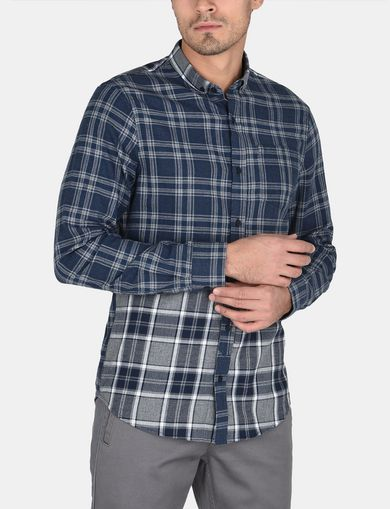PIECED PLAID REGULAR-FIT SHIRT