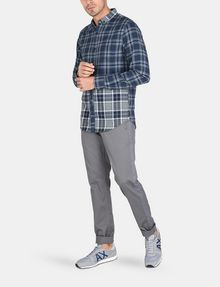 ARMANI EXCHANGE PIECED PLAID REGULAR-FIT SHIRT Long sleeve shirt Man a