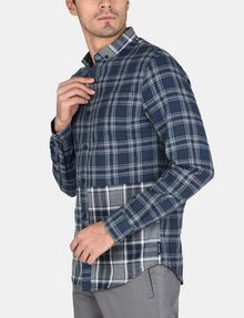 ARMANI EXCHANGE PIECED PLAID REGULAR-FIT SHIRT Long sleeve shirt Man d