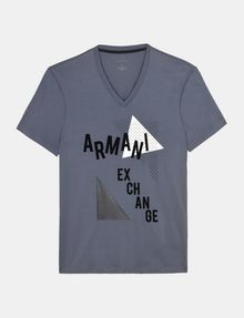 ARMANI EXCHANGE MOD TRIANGLE V-NECK Logo T-shirt Man b