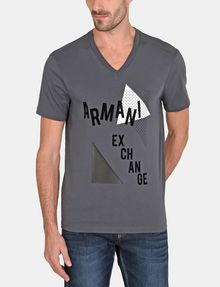 ARMANI EXCHANGE MOD TRIANGLE V-NECK Logo T-shirt Man f