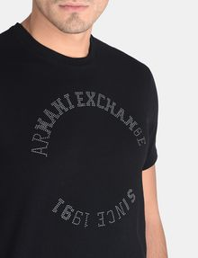 ARMANI EXCHANGE STUDDED CIRCLE CREW Logo T-shirt Man e