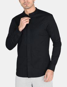 ARMANI EXCHANGE BANDED COLLAR BIB-FRONT SHIRT Long sleeve shirt Man f