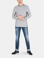 ARMANI EXCHANGE LONG-SLEEVE OVERSIZED STRIPE CREW L/S Knit Top Man a