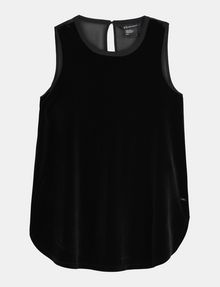 ARMANI EXCHANGE SHEER PIECED VELVET TANK S/L Knit Top Woman b