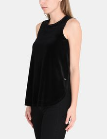 ARMANI EXCHANGE SHEER PIECED VELVET TANK S/L Knit Top Woman d