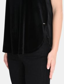 ARMANI EXCHANGE SHEER PIECED VELVET TANK S/L Knit Top Woman e