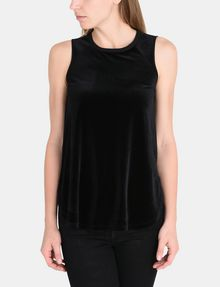 ARMANI EXCHANGE SHEER PIECED VELVET TANK S/L Knit Top Woman f