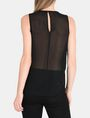 ARMANI EXCHANGE SHEER PIECED VELVET TANK S/L Knit Top Woman r