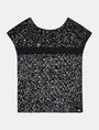 ARMANI EXCHANGE STRIPE DETAIL SEQUIN TEE S/S Woven Top Woman b