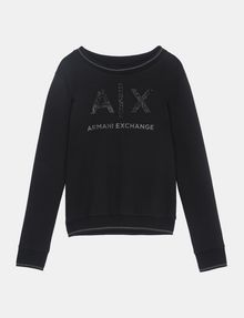 ARMANI EXCHANGE CRYSTAL EMBELLISHED SWEATSHIRT TOP Fleece Top D b