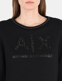 ARMANI EXCHANGE CRYSTAL EMBELLISHED SWEATSHIRT TOP Fleece Top D e