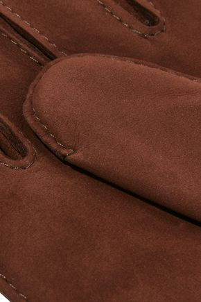 CAUSSE GANTIER Country leather-trimmed nubuck gloves