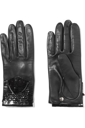 Patent-leather trimmed fringed leather gloves