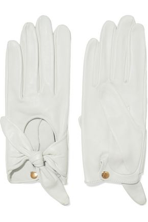 Helena bow-embellished leather gloves