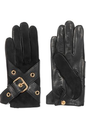 Ophelie leather buckle-trimmed suede gloves