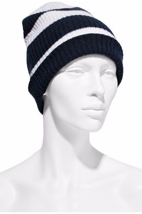 AUTUMN CASHMERE Striped ribbed cashmere beanie