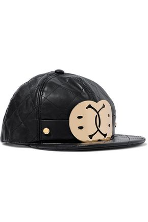 MOSCHINO Embellished quilted leather baseball cap