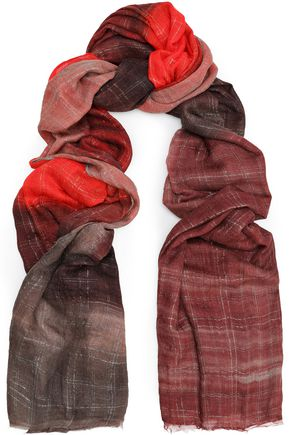 BRUNELLO CUCINELLI Frayed checked cashmere-blend scarf
