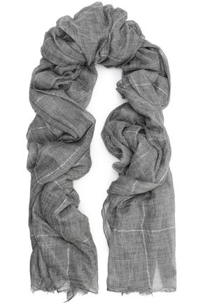 BRUNELLO CUCINELLI Frayed metallic checked cashmere scarf