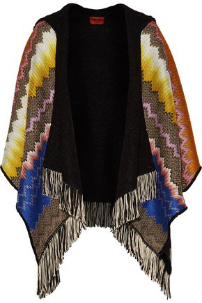 MISSONI Fringed crochet-knit hooded cape