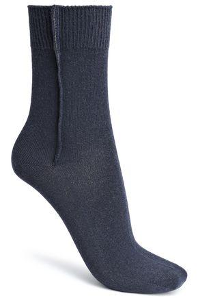 BRUNELLO CUCINELLI Bead-embellished mélange cashmere socks