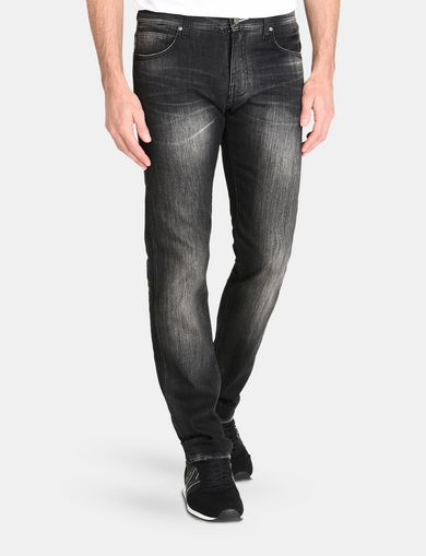 MEDIUM-WASH BLACK STRAIGHT-LEG JEAN