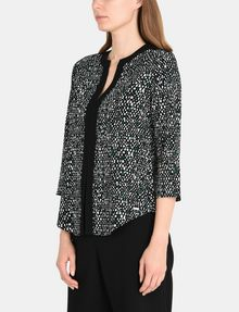 ARMANI EXCHANGE CONTRAST TRIM GEO PRINT BLOUSE L/S Woven Top Woman d