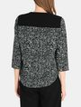 ARMANI EXCHANGE CONTRAST TRIM GEO PRINT BLOUSE L/S Woven Top Woman r