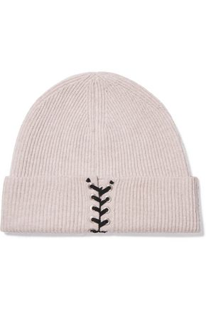 AUTUMN CASHMERE Lace-up ribbed cashmere beanie