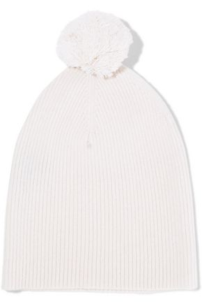 AUTUMN CASHMERE Pompom-embellished ribbed cashmere beanie