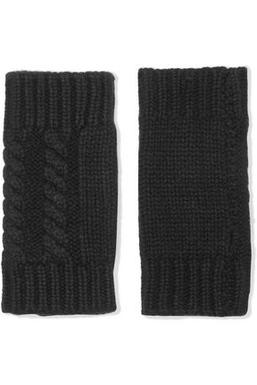 AUTUMN CASHMERE Fingerless cable-knit cashmere gloves