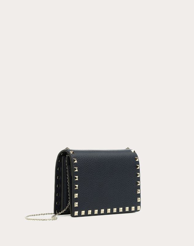 Navy Rockstud Pouch On Chain