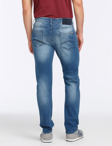 MEDIUM-WASH STITCHED STRAIGHT-LEG JEAN