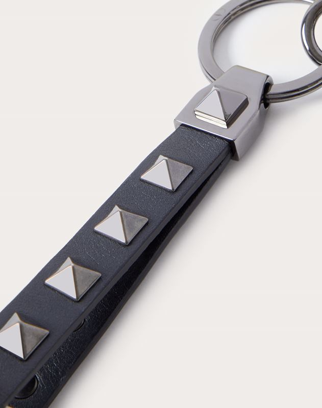 Rockstud Leather Key Ring