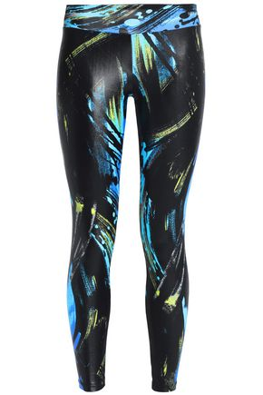 BODYISM Printed coated stretch leggings