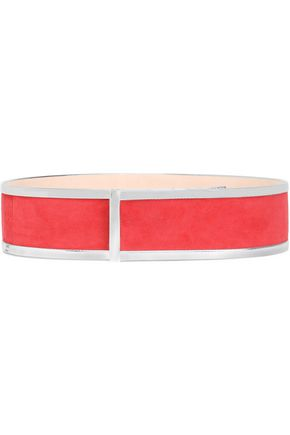 BALMAIN Mirrored leather-trimmed suede belt