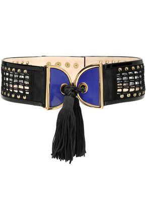 BALMAIN Crochet-trimmed tasseled suede belt