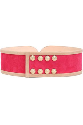 BALMAIN Button-embellished suede belt