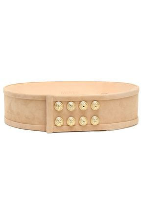 BALMAIN Button-embellished suede belt