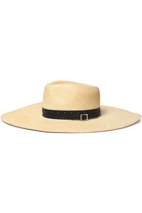 RAG & BONE Leather-trimmed straw sunhat