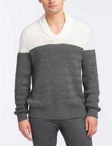 ARMANI EXCHANGE COLORBLOCK SHAWL-COLLAR SWEATER Pullover Man f