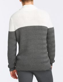 ARMANI EXCHANGE COLORBLOCK SHAWL-COLLAR SWEATER Pullover Man r