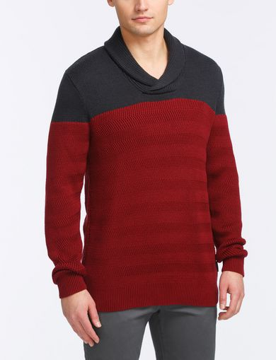 COLORBLOCK SHAWL-COLLAR SWEATER