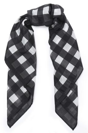 RAG & BONE Gingham cotton and silk-blend scarf