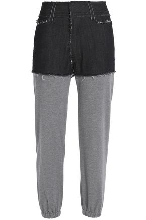 NORMA KAMALI Paneled denim and jersey track pants
